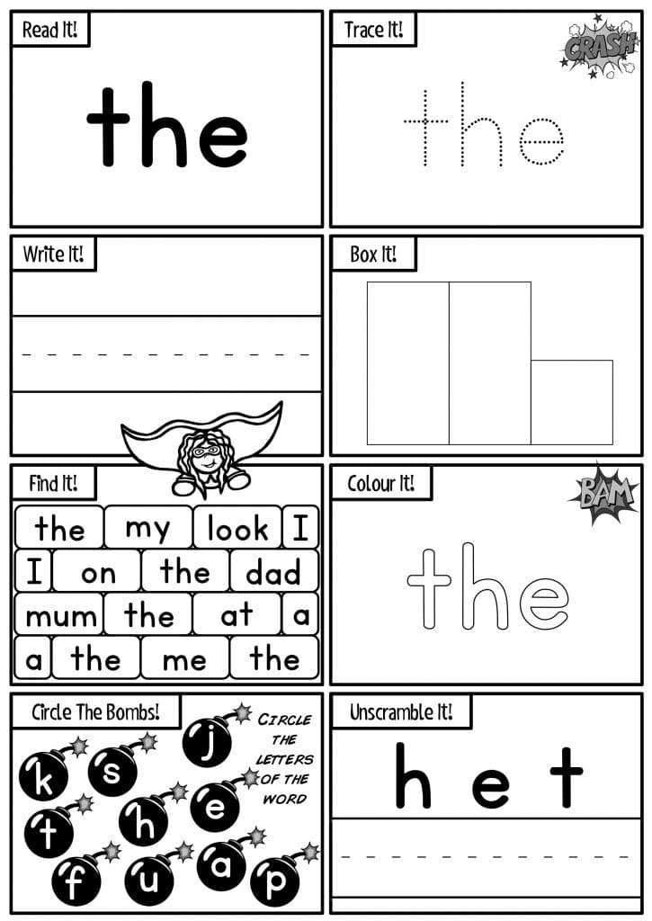 Sight Words Activity Worksheets. Sight Words Activity Sheets. These worksheets contain superhero themed sight word activity sheets feature 84 high frequency sight word activities! This is great for reading fluency, test prep, and homework. Great for preschool, kindergarten, Grade One, Year One, New Entrant activities. Use these sight words New Zealand activities and games as part of your Word Work Daily 5 activities, as a homework activity or as an addition to your literacy program. {New Entrants, Year One, Year Two}.