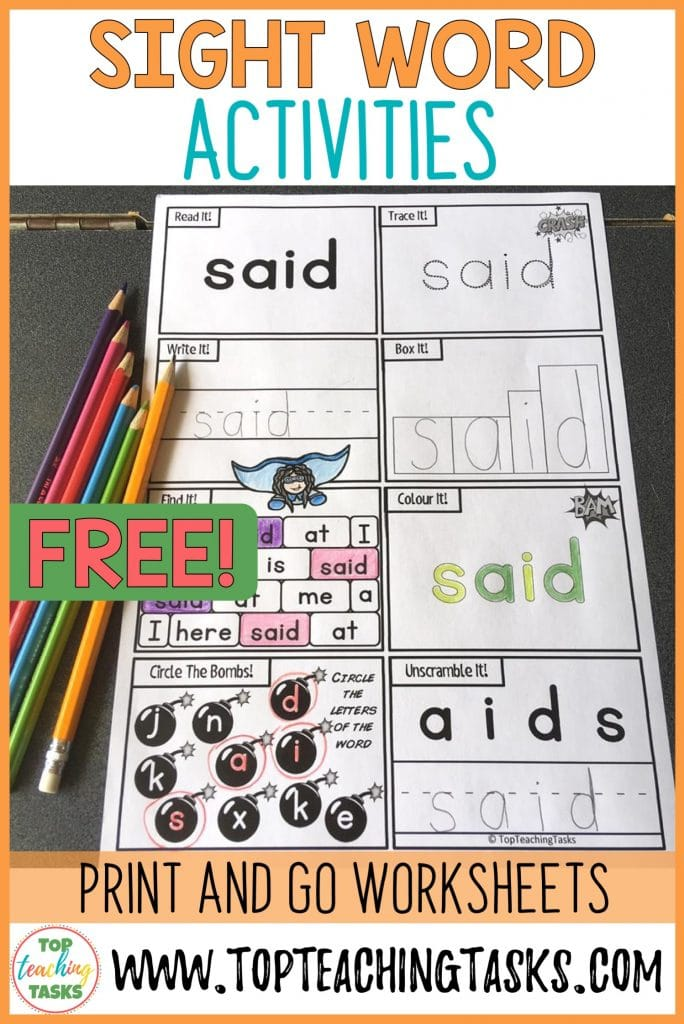 Sight Words Activities freebie