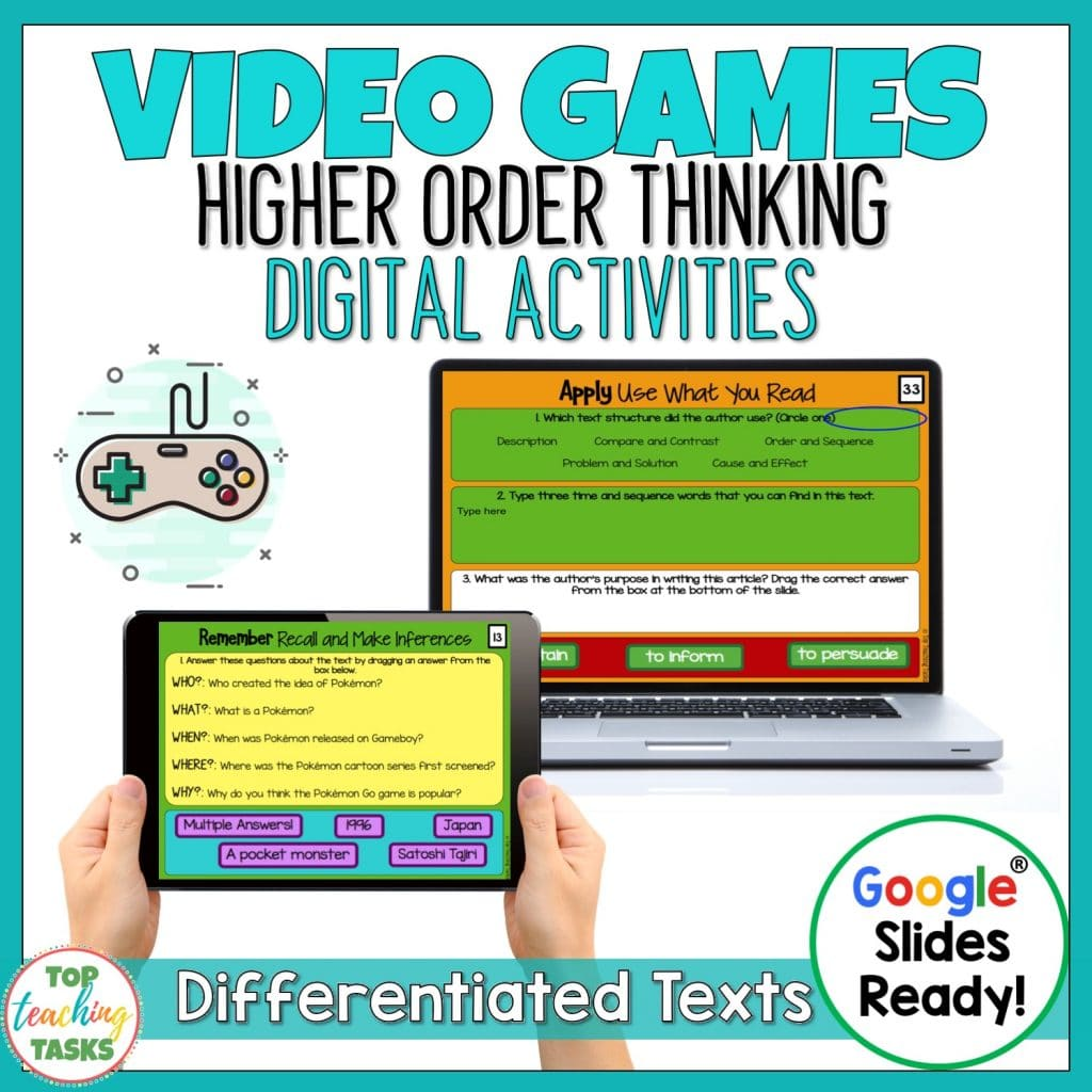 Video Games Digital Reading Comprehension. Your students will love learning about the history of video games, anime, Pokemon Go, Pokemon and Battle Royale Games (like Fortnite). Our engaging reading comprehension packs are perfect for distance learning and independent work (see the link in our bio). This resource can be used on a wide range of devices and will be a wonderful tool for the digital 1:1 or BYOD classroom. #paperless