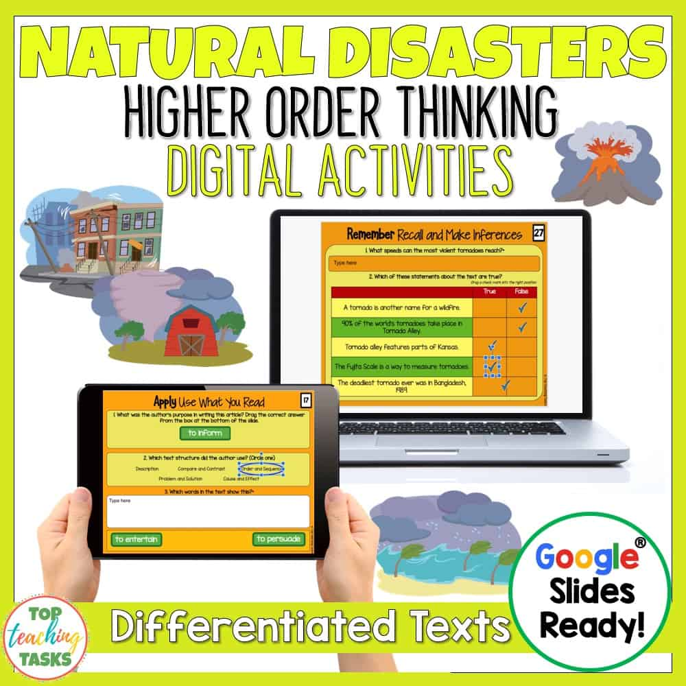 Natural Disasters Reading Comprehension Digital. Go paperless with our Google Slides reading comprehension activity - great for digital guided reading! Learn about earth-shattering earthquakes, explosive volcanoes and extreme weather - twisting tornadoes and huge hurricanes with our differentiated reading passages and questions. This Natural Disasters Google Slides resource includes four passages (at two levels) with at least six unique slides of engaging text-dependent questions and higher-order thinking interactive tasks. #naturaldisasters