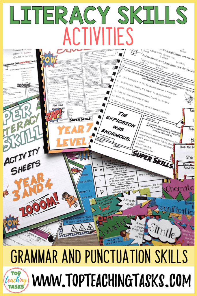 Target the gaps in your students' writing with our Literacy Skills MEGA BUNDLE! Our mega bundle features all three of our popular literacy skills packs (Year 3 and 4, Year 5 and 6, Year 7 and 8) at a discounted rate. Figurative Language - Punctuation - Grammar - Sentence Structure - Vocabulary - Word Work and MORE!