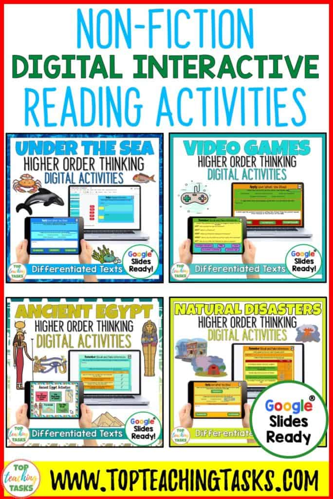Digital Non-Fiction Reading Comprehension. Go paperless with our Digital Non-Fiction Reading Comprehension bundle! This combo pack is great for digital guided reading! Learn about video games, Ancient Egypt, the world under the sea, and natural disasters with our reading passages and questions. Each of the four Google Slides resources includes four passages (at two levels) with at least seven unique slides of engaging text-dependent questions and higher-order thinking interactive tasks.