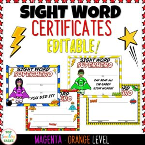 New Zealand Sight Word Certificates