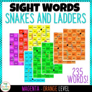 New Zealand Sight Words Snakes and Ladders