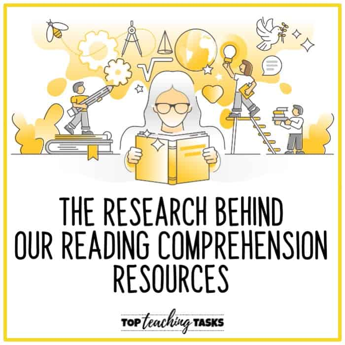 "The research behind our reading comprehension resources. In this blog post, I explore the research behind our reading comprehension resources and the ""why"" behind our activities. At Top Teaching Tasks, we provide reading passages and activities on engaging topics that help students to understand what they read. We do this by taking a researched-based approach, focusing on reading comprehension, rigorous texts, vocabulary development, content-area literacy, and the integration of reading and writing."