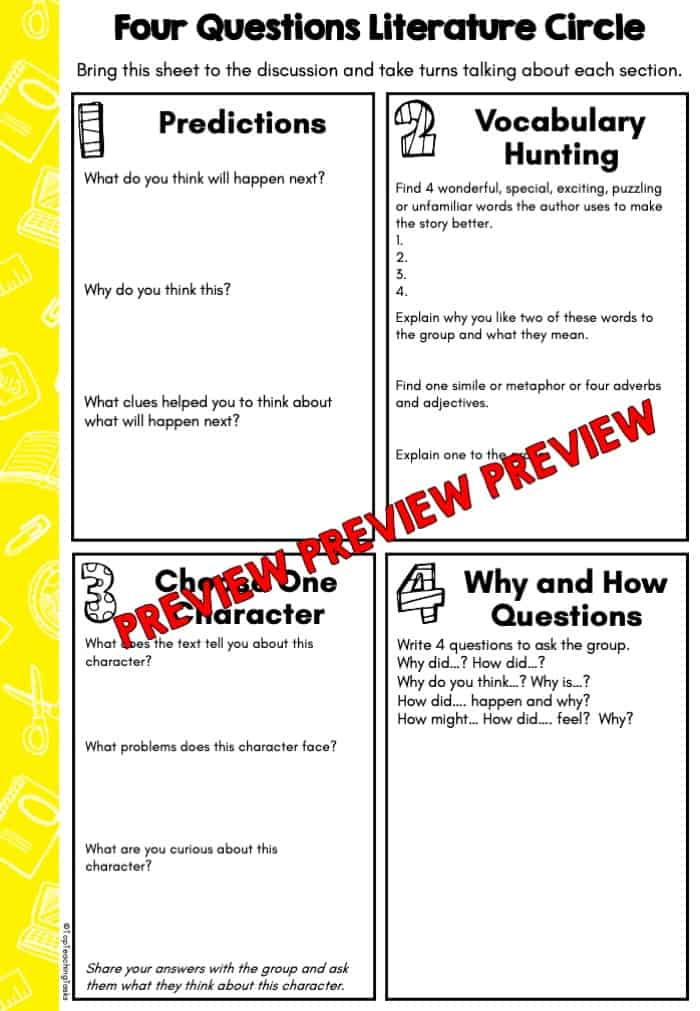 Four Question Literature Circle Freebie