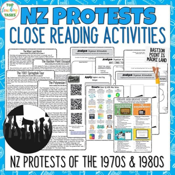 New Zealand Protests Reading Comprehension Activities
