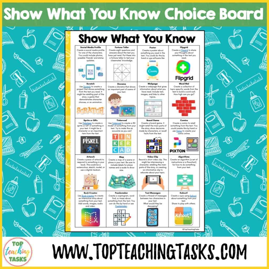 Show What You Know Choice Board