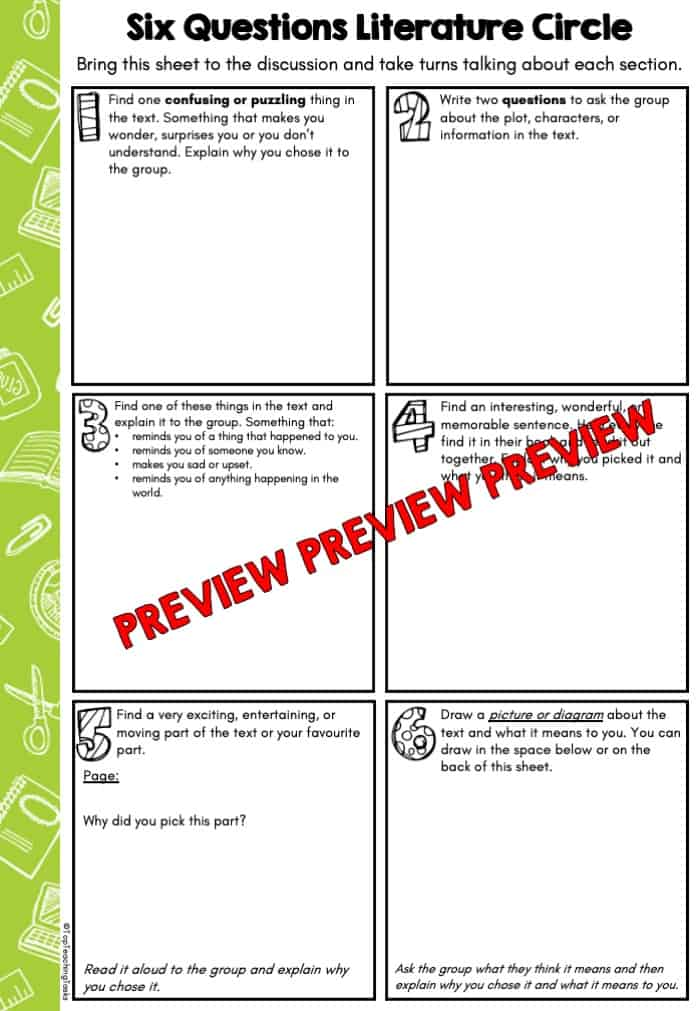 Six Questions Literature Circle Freebie