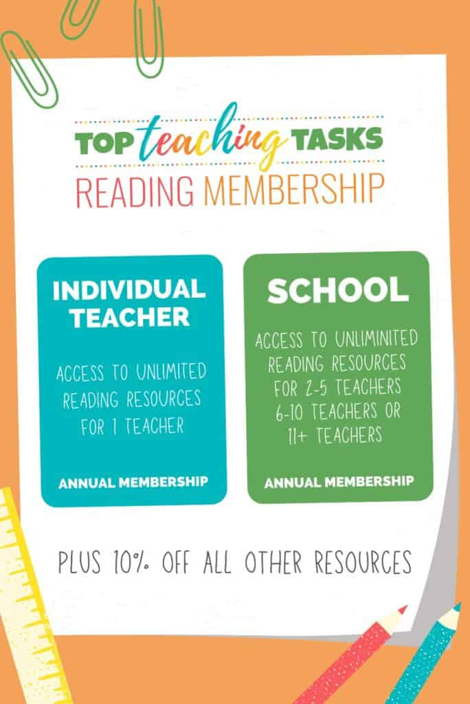 Top Teaching Tasks Reading Membership features our full range of reading and social studies resources.